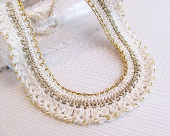 Off white gold crocheted collar chain necklace gold от LadyLina