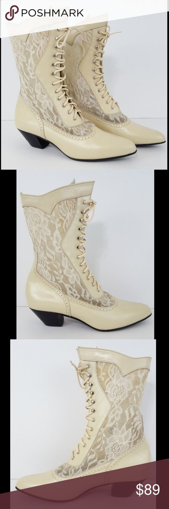 "{Oak Tree Farms} Victorian Lace-up Romantic Boots Oak Tree Farms Boots Size 9 Women's Cream Ivory Lace Cathedral Victorian Wedding  Very good condition with minimal to light wear. Please see pics.  Outsole at widest = 3"" Heel height = 1.75"" Total height from floor = 10.5""  Slanted wedge heel Semi-sheer lace insets  W-SHOE-3399 Oak Tree Farms Shoes Lace Up Boots"