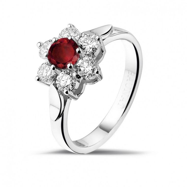k Diamond ring with red stone in center