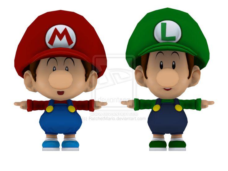 Baby mario and baby luigi 3d models render by ratchetmario - Bebe mario et bebe luigi ...