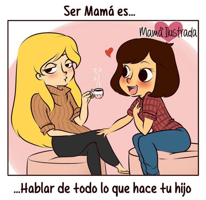 Ilustración de mamá hablando de su hijo