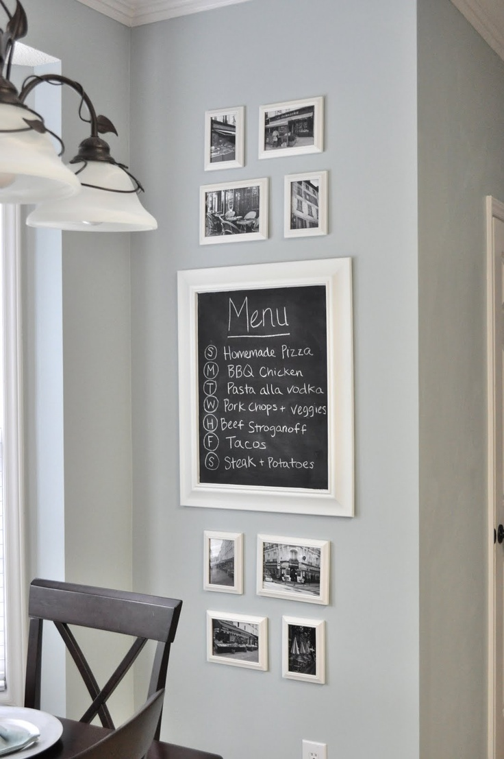 Kitchen Gallery Wall  above the stove chalkboard. recipes, conversions, ect.