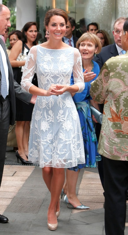 Princess Kate in Alice Temperley dress.  Love this dress for rehearsal dinner, going away outfit etc. themarriedapp.com hearted <3