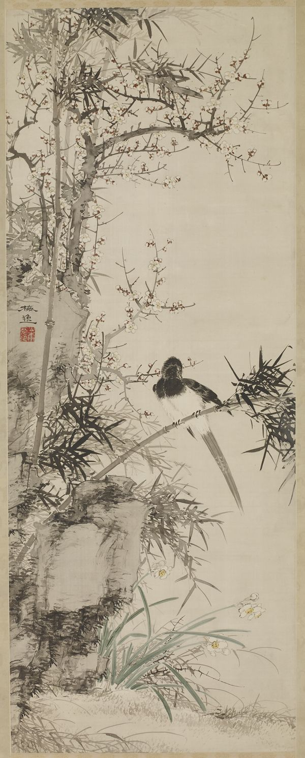Color in japanese art - Yamamoto Baiitsu Japanese Plum Narcissus And Bamboo With Magpie Ink And Color On Silk