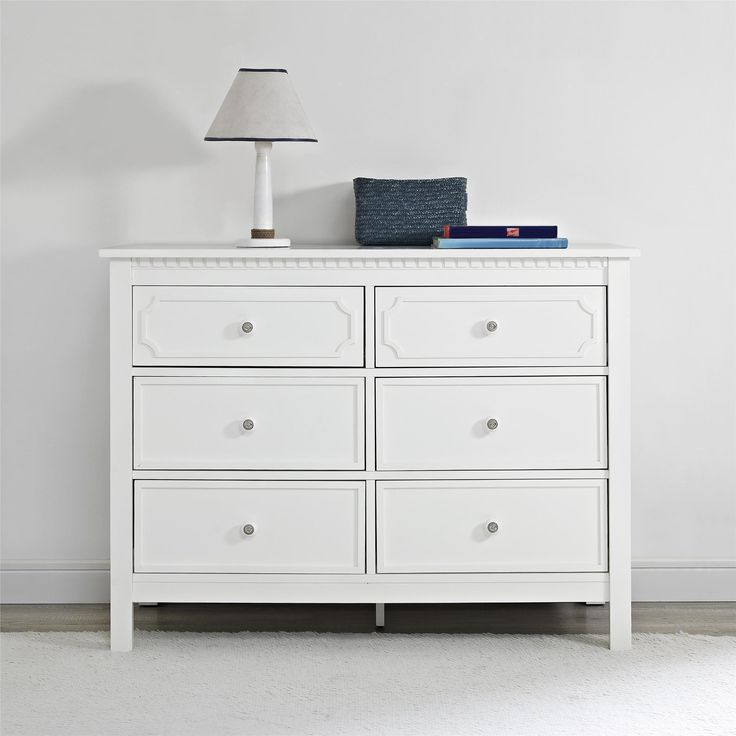 dorel asia Baby Relax Rivers Pure White 6 Drawer Dresser (Dresser, white), Size 6-drawer
