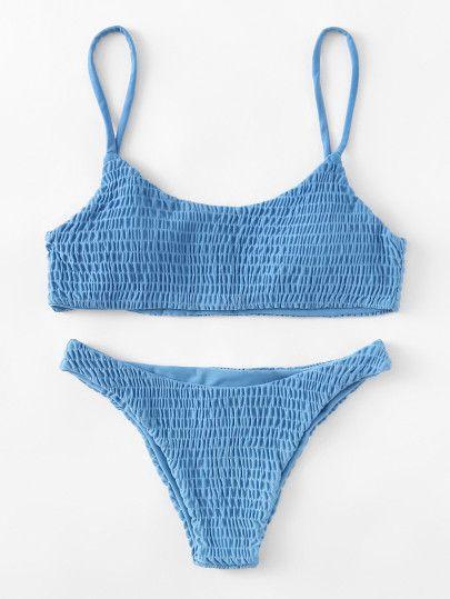a0152de0eff Shirred Bikini SetFor Women-romwe | B a t h i n g S u i t s en 2019 ...