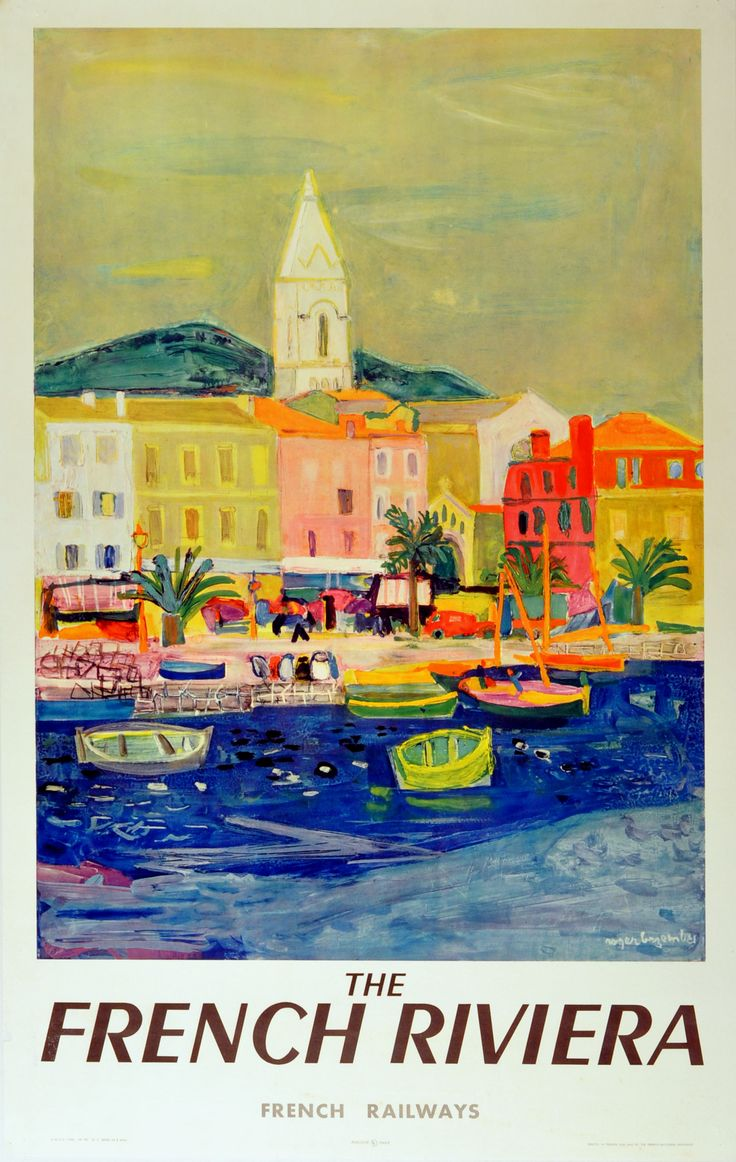 The French Riviera, 1950s - original vintage poster by Roger Bezombes listed on AntikBar.co.uk....reépinglé par Maurie Daboux .•*`*•. ❥