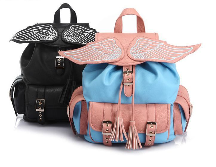 Angel Wing Faux Leather Backpack