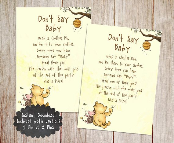 Don T Say Baby Baby Shower Game Printable Winnie The Pooh Baby Shower Game Unique Baby Shower Invites Baby Shower Invitations Onesie Baby Shower Invitations