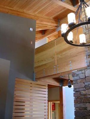 Cascade foothills - CDX fir plywood railing - fir slat wall - stacked sandstone fireplace - fir cardecking at ceiling