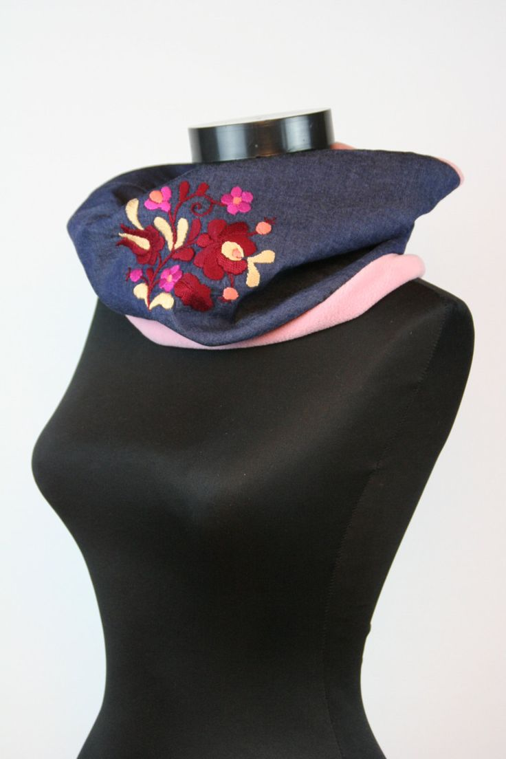 READY TO SHIP - women tube scarf - cowl scarf - circle scarf - matyo embroidery - pink blue  - denim polar - hand embroidered by MatyoKid on Etsy
