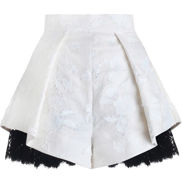 Mischief Embroidery Tuck Short (14.497.925 VND) ❤ liked on Polyvore featuring shorts, skirts, lacy shorts, lace short shorts, lace shorts, embroidered shorts and lace ruffle shorts
