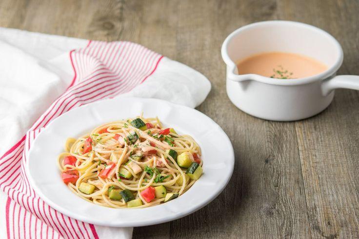 Spaghetti à la crème de poivron et légumes du soleil