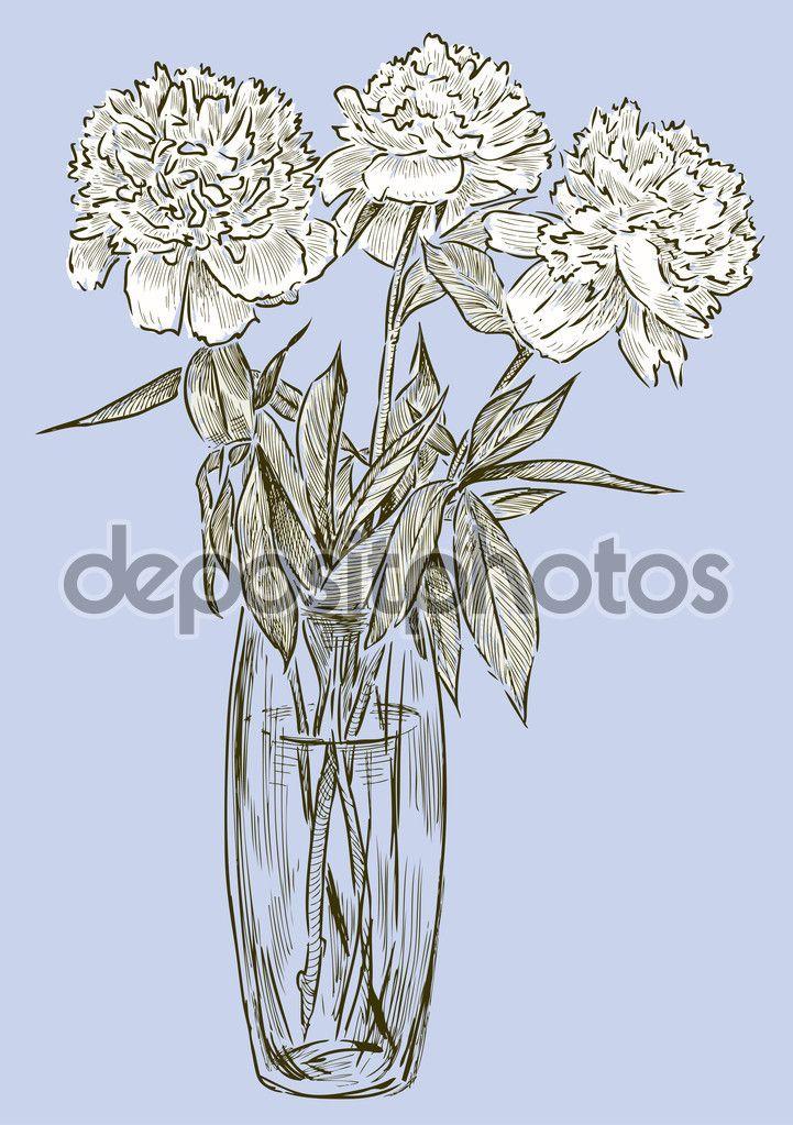 Букет белых пионов — стоковая иллюстрация #100442200