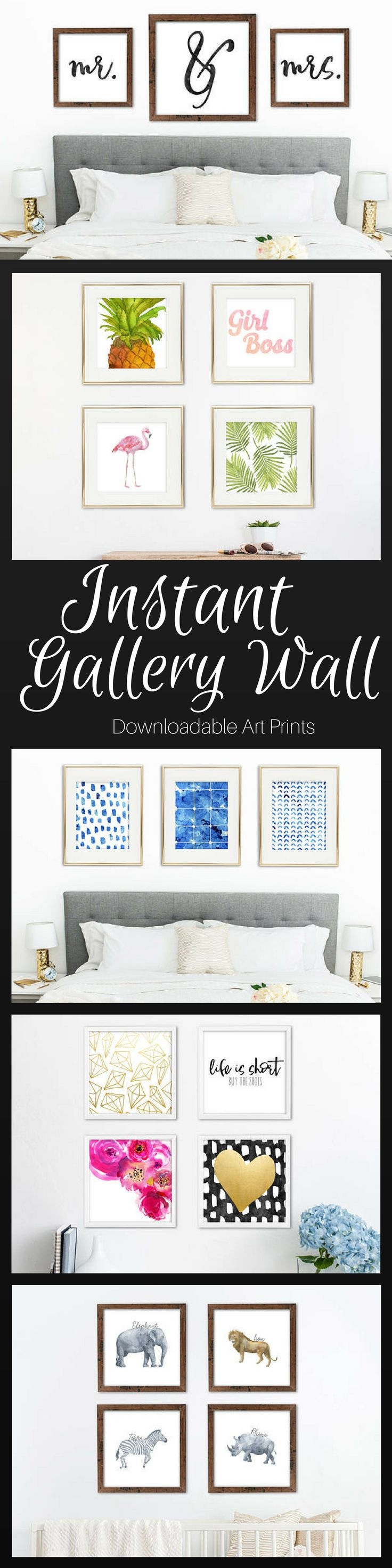 Create a gallery wall in any room in an instant! Mr. & Mrs. for over the bed in Mater Bedroom, Girl boss office prints, nursery prints and more! Instant downloads. #printable #artwork #ad #etsyseller