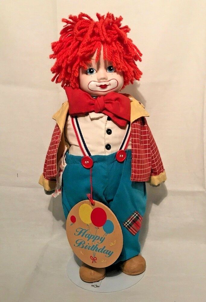 Chips Musical Porcelain Clown Doll Samuel J  Butcher 1985 with Stand