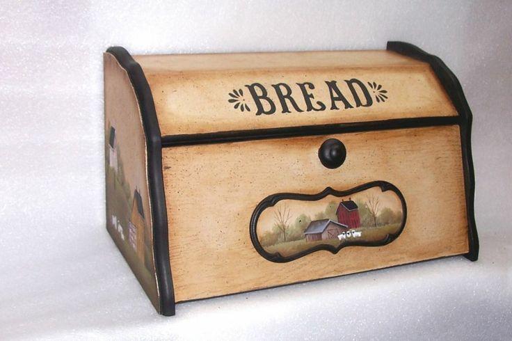 WOOD BREAD BOX HAND PAINTED PRIMITIVE FOLK ART SALTBOX