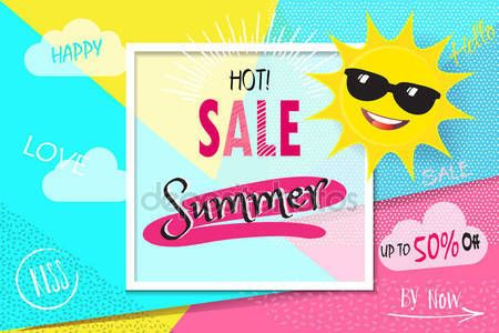 Download - Summer sale background layout banners.voucher, flyer, sale discount. Vector illustration template. Tropical background with palm tree leaves, 3D hearts, cute sun, sunglasses, tag price. Lettering, sunny day, Holiday gift card. Advertising, Promotion — Stock Illustration #156370592