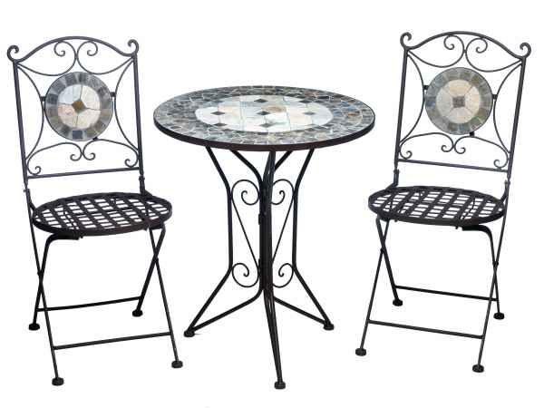 Garnitur Gartentisch 2 Stuhle Eisen Fliesen Mosaik Garten Tisch