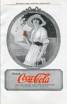 1920 advertisement for Coca Cola.  Ads are way different now. I'm not a coke person, I prefer Mountain Dew