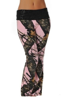 Mossy Oak Break Up® Script Lounge Pants / pink camo yoga pants from Girls with Guns Clothing