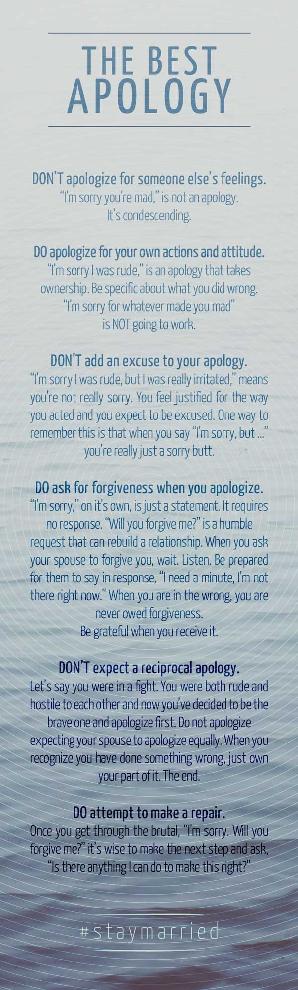 The Best Apology - How to say sorry like you mean it. #staymarried marriage, marriage tips #marriage