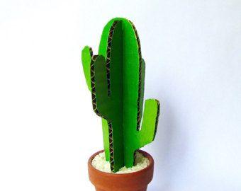 Paper Cactus / Cardboard Cacti / Desktop buddy / Papercraft