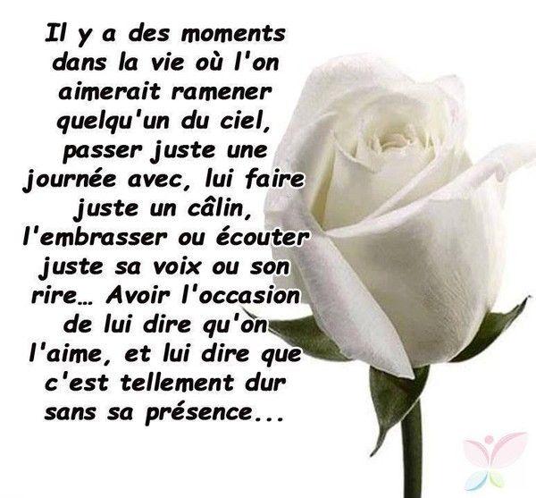 """""""Il y a des moments dans la vie, où l'on aimerait ramener quelqu'un du ciel, passer juste une journée avec, lui faire juste un câlin, l'embrasser ou écouter juste sa voix ou son rire... Avoir l'occasion de lui dire qu'on l'aime, et lui dire que c'est tellement dur sans sa présence..."""" - #citation #quote #deuil #death"""