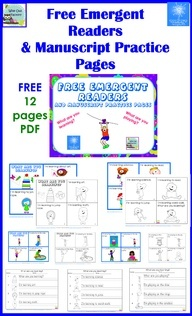 Free Emergent Readers and Printing Practice, color or black and white printing options