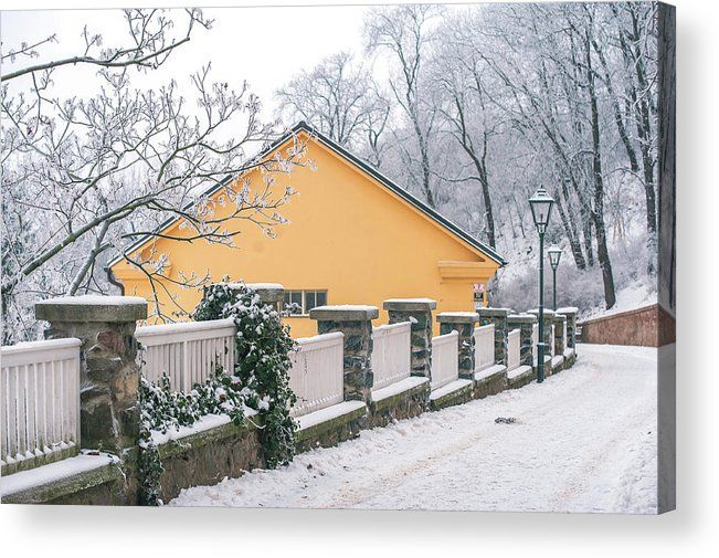 "Acrylic Print featuring of Winter Park Of Spilberg Castle by Jenny Rainbow. Bring your artwork to life with the stylish lines and added depth of an acrylic print. Your image gets printed directly onto the back of a 1/4"" thick sheet of clear acrylic. The high gloss of the acrylic sheet complements the rich colors of any image to produce stunning results. To buy print please click on image. Order online, delivery, 30 days money back guaranty. #JennyRainbowFineArtPhotography #Brno"