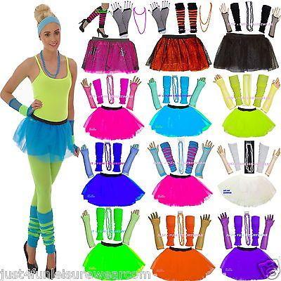 Neon Tutu Skirt Set Necklace 80s Fancy Dress Party View More