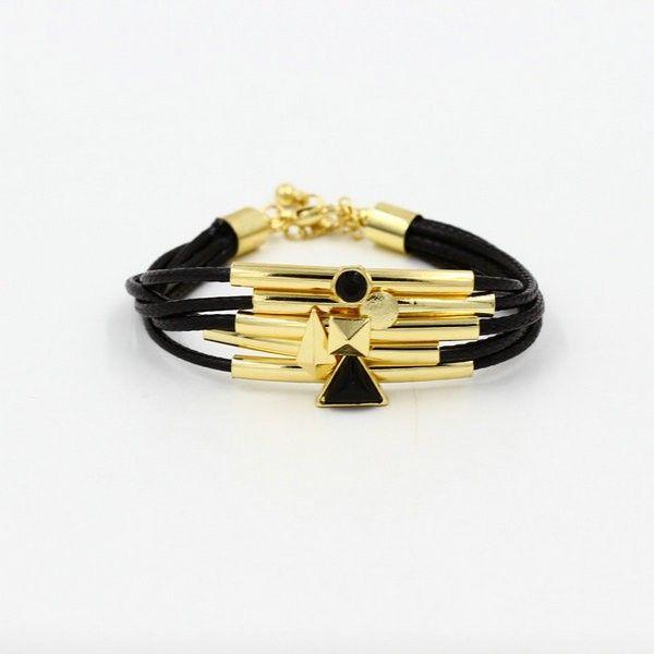 Black Wrap Bracelet with gold accents