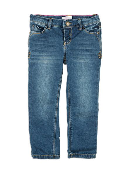 Classic girls jean - great for everyday wear and can be easily dressed up or down. These are a wardrobe must have. Sizes up to size 2 feature a mock fly and snap domes to make change time a breeze. Features pink stitching on inside for a girly touch.