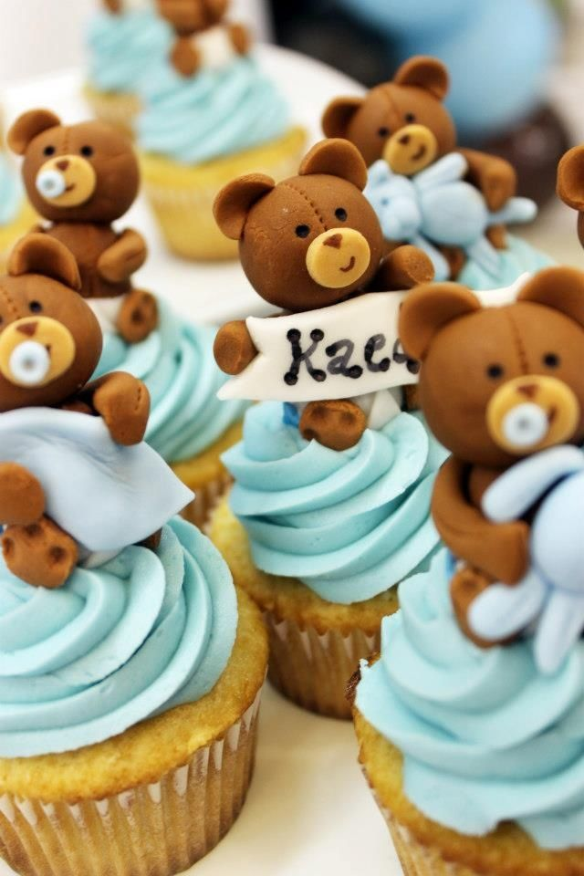 Teddy bear baby shower. Chocolate and cupcakes go together perfectly! Add Patchi's Picture Perfect Chocoalte arrangement to a dessert table for a chocolate treat http://www.patchi.us/baby-boy-arrangement-trcxf2.html