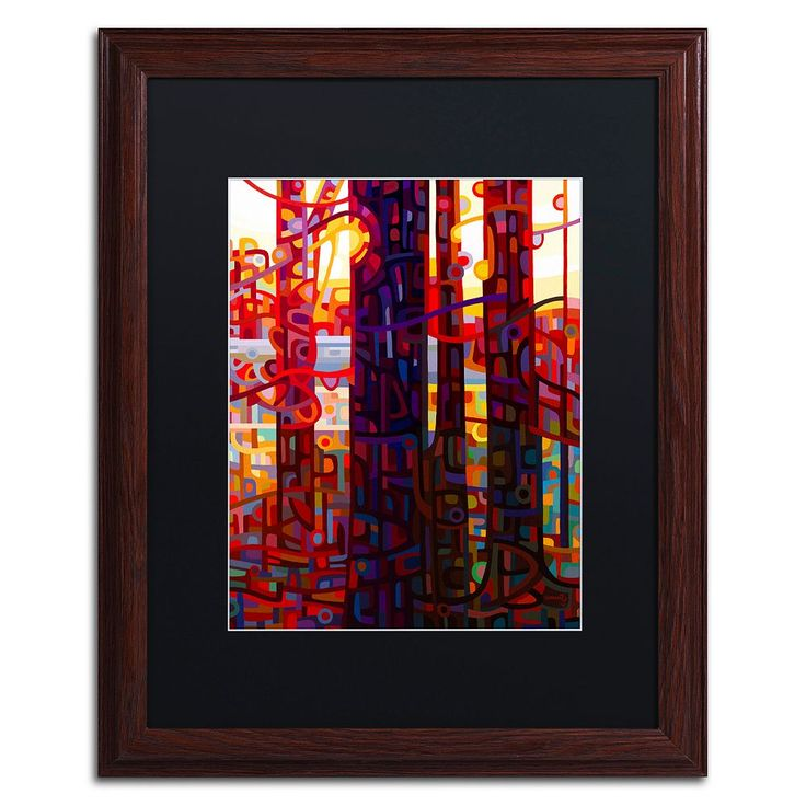 Trademark Fine Art Carnelian Morning Wood Finish Matted Framed Wall Art, Red