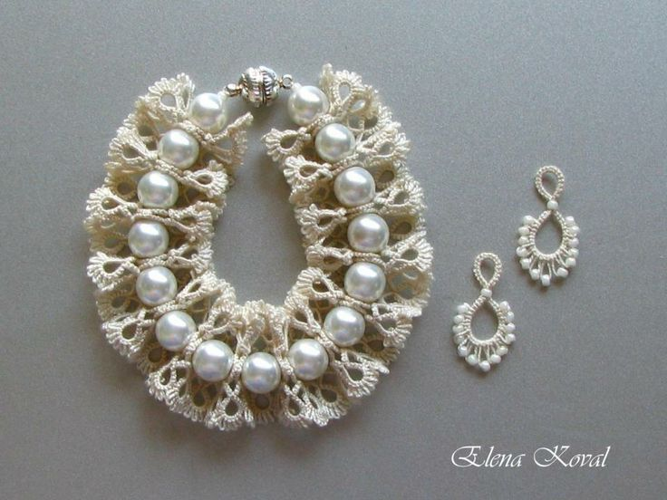 Tatted bracelet and earrings - free patterns and assembling