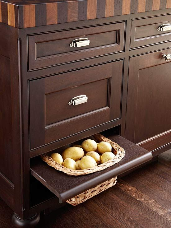 Produce Storage: Cabinets Colors, Kitchens Plans, Dreams House, Kitchens Ideas, Produce Storage, Spaces Savers, Storage Ideas, Kitchens Storage, Potatoes Storage