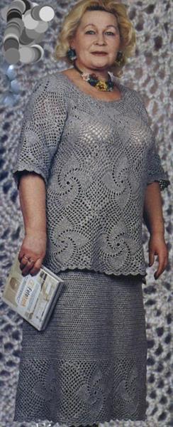Вязаные костюмы для полных женщин