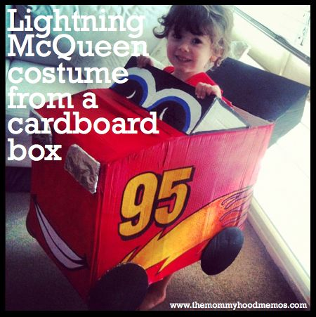 CARS - make a Lightning McQueen costume out of a cardboard box and a few things you probably already have around the house. Adorable and cheap for a toddler or preschooler! #DIYonadime #halloween #creativeplay