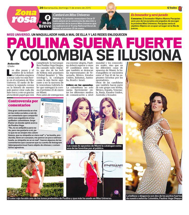Paulina suena fuerte y Colombia se ilusiona. Textos: Redacción Q'hubo. Empresa: Q'hubo Barranquilla.