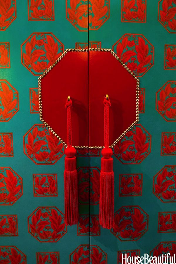 red and teal cabinet