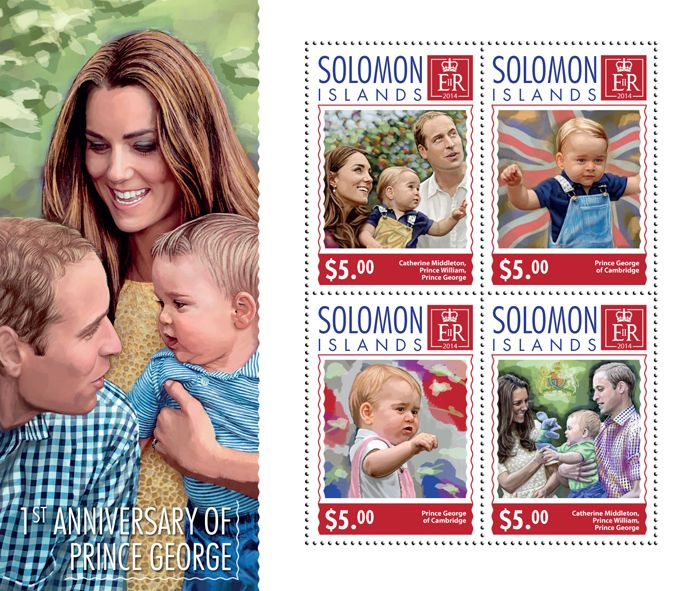 Post stamp Solomon Islands SLM 14709 a1st anniversary of Prince George (Catherine Middleton, Prince William, Prince George)