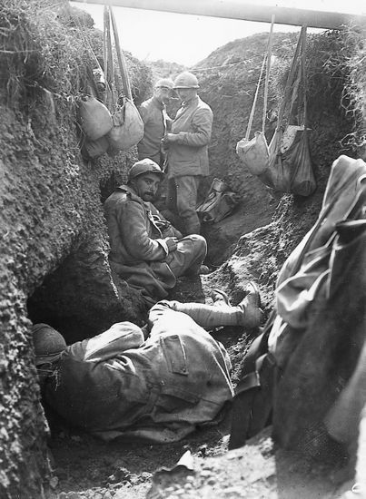 Chilling in a French 1st line Trench. WW1.