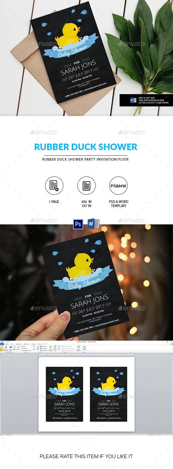 Chalkboard Rubber Duck Birthday #Invitation - Invitations #Cards & Invites Download here: https://graphicriver.net/item/chalkboard-rubber-duck-birthday-invitation/19725815?ref=alena994