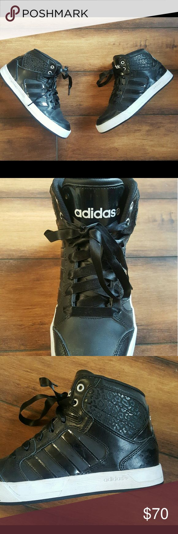 Adidas NEO hightops Black ADIDAS NEO Ortholite Hightops! Black ribbon laces, worn only a few times - great condition! Adidas Shoes Athletic Shoes