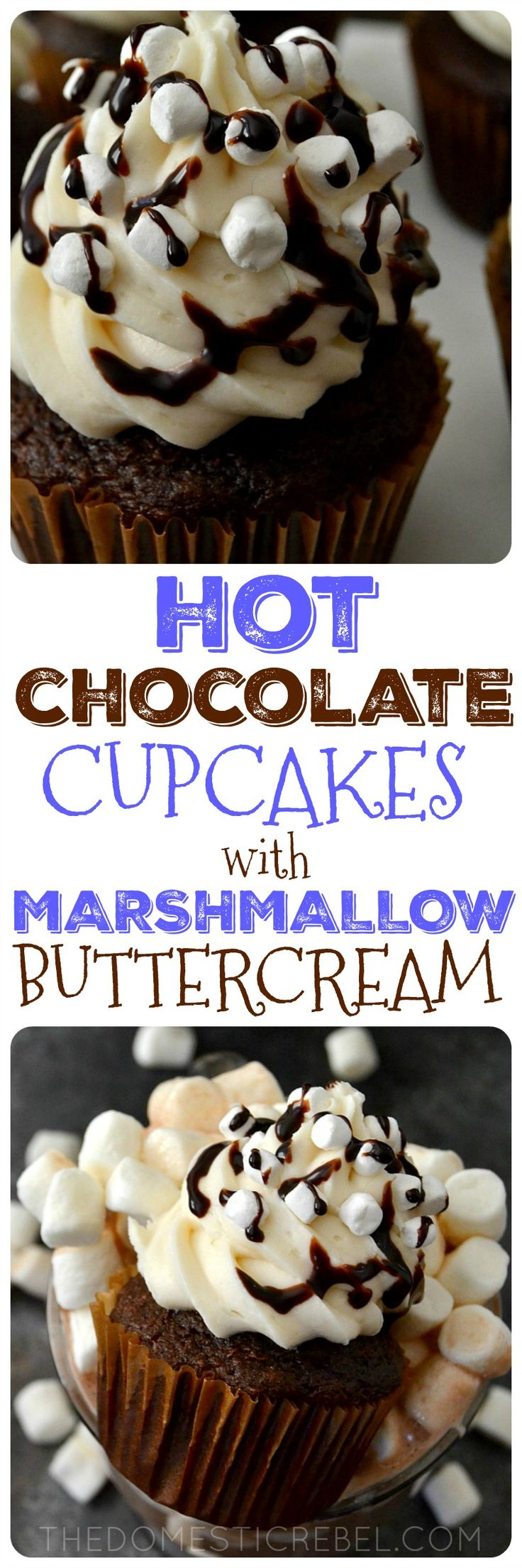 Hot Chocolate Cupcakes with Marshmallow Buttercream are a wonderful treat for anytime of year! Moist, fluffy, hot cocoa cupcakes topped with a light & smooth sweet marshmallow frosting. Easy, impressive and totally fun!