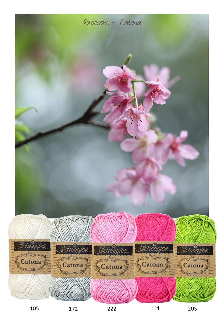 Kleurinspiratie Bloesem - Mooie frisse voorjaarskleuren om mee te haken of te breien. Off white - grijs - roze en groen. Catona van Scheepjeswol is verkrijgbaar in een zeer uitgebreid kleurenscala en is geschikt voor allerlei vrolijke projecten.