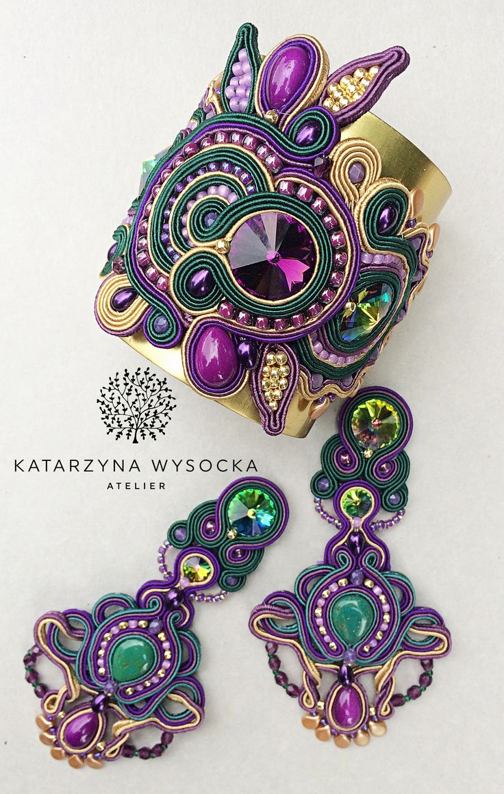 soutache set wide bracelet with the earrings Atelier Magia by Katarzyna Wysocka