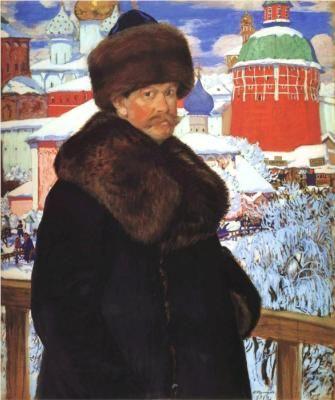 Boris Kustodiev -  Self-Portrait in front of Troitse-Sergiyeva Lavra - (Born: 07 May 1878; Astrakhan, Russian Federation  - Died: 28 May 1927; Saint-Petersburg, Russian Federation )  Russian , Field: painting, design   -  Movement: Realism, Art Nouveau