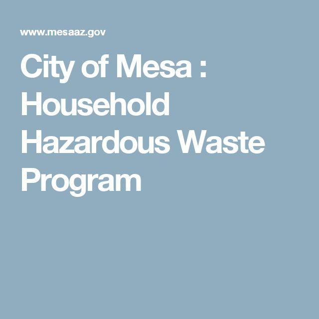 City of Mesa : Household Hazardous Waste Program